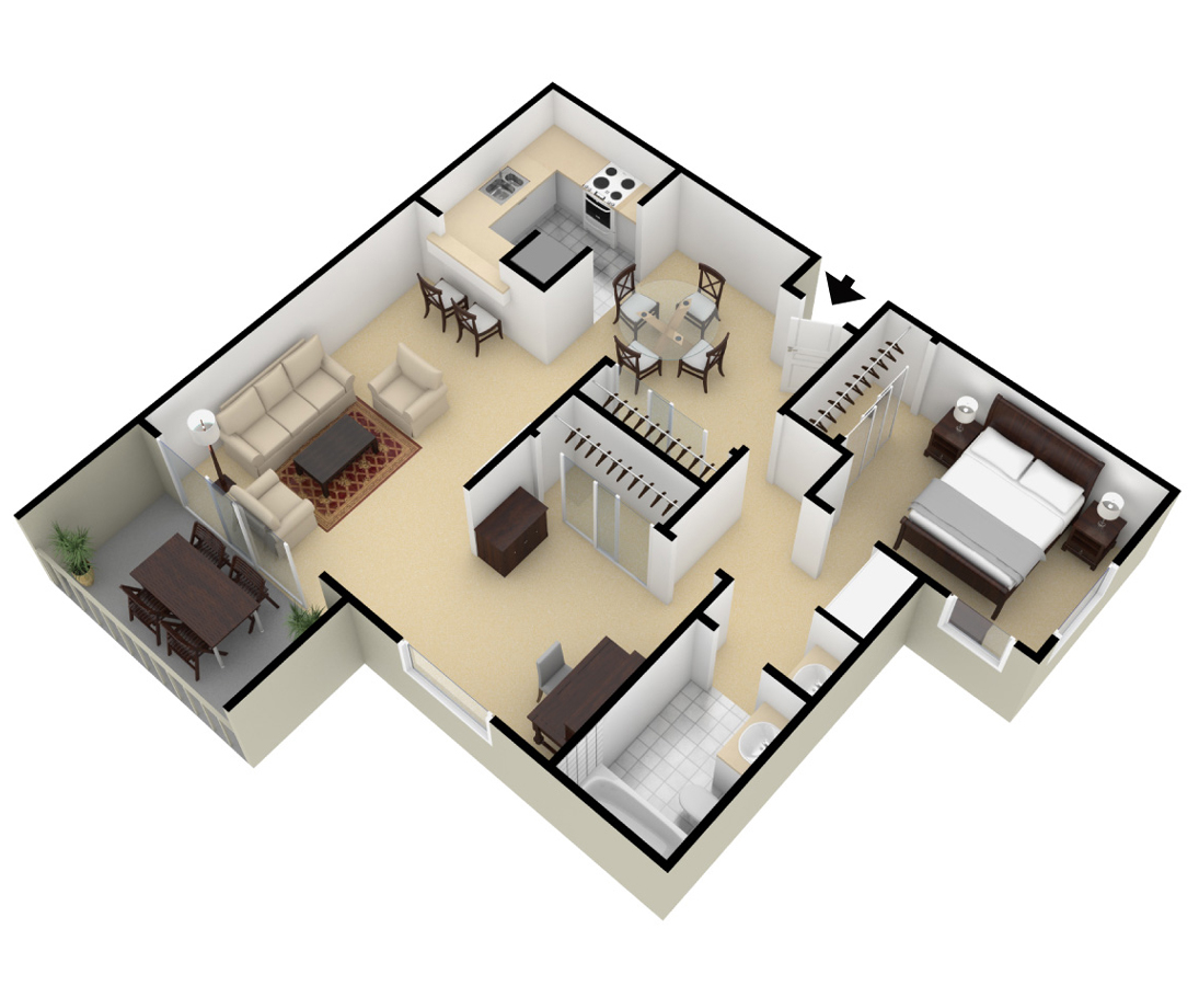 c - One Bedroom Apartment Floor Plans